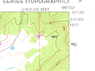 Reduced fragment of topographic map en--usgs--024k--043503--(1956)--N034-30-00_W096-07-30--N034-22-30_W096-00-00; towns and cities Stringtown