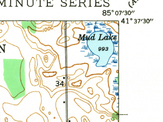 Reduced fragment of topographic map en--usgs--024k--043505--(1942)--N041-37-30_W085-15-00--N041-30-00_W085-07-30