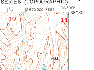Reduced fragment of topographic map en--usgs--024k--043513--(1957)--N038-30-00_W096-37-30--N038-22-30_W096-30-00; towns and cities Strong City