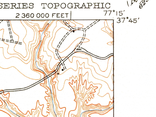 Reduced fragment of topographic map en--usgs--024k--043550--(1951)--N037-45-00_W077-22-30--N037-37-30_W077-15-00; towns and cities Mechanicsville