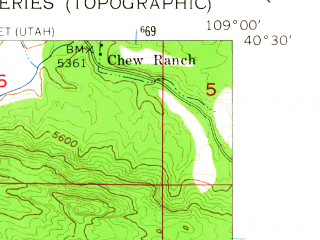 Reduced fragment of topographic map en--usgs--024k--043555--(1955)--N040-30-00_W109-07-30--N040-22-30_W109-00-00