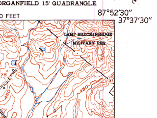 Reduced fragment of topographic map en--usgs--024k--043567--(1951)--N037-37-30_W088-00-00--N037-30-00_W087-52-30; towns and cities Sturgis