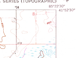Reduced fragment of topographic map en--usgs--024k--043569--(1961)--N041-52-30_W085-30-00--N041-45-00_W085-22-30; towns and cities Sturgis
