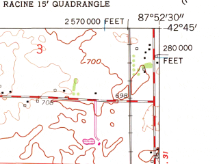 Reduced fragment of topographic map en--usgs--024k--043571--(1959)--N042-45-00_W088-00-00--N042-37-30_W087-52-30; towns and cities Sturtevant