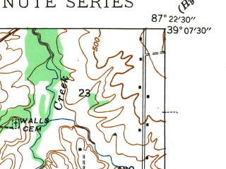 Reduced fragment of topographic map en--usgs--024k--043669--(1943)--N039-07-30_W087-30-00--N039-00-00_W087-22-30; towns and cities Sullivan