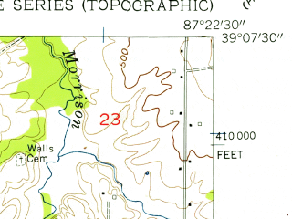 Reduced fragment of topographic map en--usgs--024k--043669--(1956)--N039-07-30_W087-30-00--N039-00-00_W087-22-30; towns and cities Sullivan
