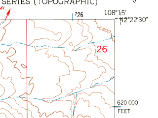 Reduced fragment of topographic map en--usgs--024k--043684--(1961)--N042-22-30_W108-22-30--N042-15-00_W108-15-00