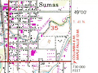 Reduced fragment of topographic map en--usgs--024k--043709--(1952)--N049-00-00_W122-22-30--N048-52-30_W122-15-00; towns and cities Everson, Nooksack, Sumas