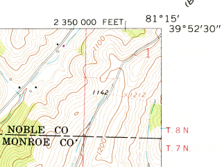 Reduced fragment of topographic map en--usgs--024k--043718--(1961)--N039-52-30_W081-22-30--N039-45-00_W081-15-00; towns and cities Summerfield