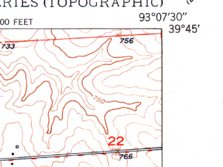 Reduced fragment of topographic map en--usgs--024k--043763--(1950)--N039-45-00_W093-15-00--N039-37-30_W093-07-30; towns and cities Sumner