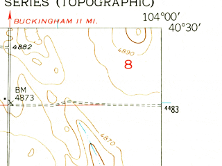 Reduced fragment of topographic map en--usgs--024k--043820--(1951)--N040-30-00_W104-07-30--N040-22-30_W104-00-00