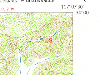 Reduced fragment of topographic map en--usgs--024k--043832--(1953)--N034-00-00_W117-15-00--N033-52-30_W117-07-30; towns and cities Moreno Valley