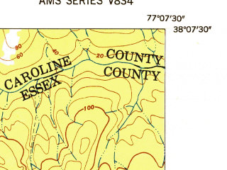 Reduced fragment of topographic map en--usgs--024k--043895--(1952)--N038-07-30_W077-15-00--N038-00-00_W077-07-30
