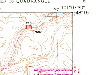 Reduced fragment of topographic map en--usgs--024k--043906--(1948)--N048-15-00_W101-15-00--N048-07-30_W101-07-30; towns and cities Surrey