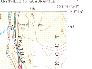 Reduced fragment of topographic map en--usgs--024k--043929--(1952)--N039-15-00_W121-45-00--N039-07-30_W121-37-30; towns and cities Sutter, Tierra Buena