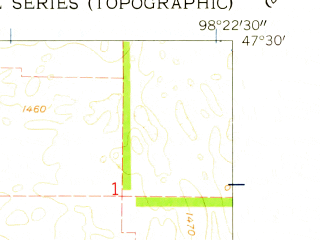 Reduced fragment of topographic map en--usgs--024k--043936--(1961)--N047-30-00_W098-30-00--N047-22-30_W098-22-30