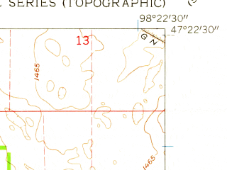 Reduced fragment of topographic map en--usgs--024k--043940--(1961)--N047-22-30_W098-30-00--N047-15-00_W098-22-30