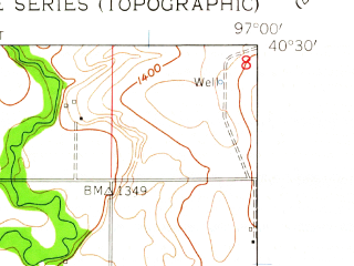 Reduced fragment of topographic map en--usgs--024k--043979--(1961)--N040-30-00_W097-07-30--N040-22-30_W097-00-00; towns and cities Swanton