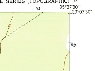 Reduced fragment of topographic map en--usgs--024k--044010--(1952)--N029-07-30_W095-45-00--N029-00-00_W095-37-30; towns and cities Sweeny, Wild Peach Village