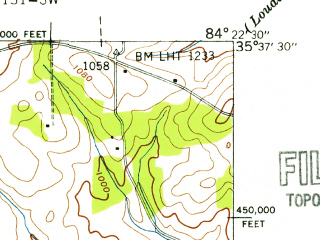 Reduced fragment of topographic map en--usgs--024k--044021--(1941)--N035-37-30_W084-30-00--N035-30-00_W084-22-30; towns and cities Sweetwater