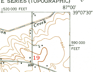 Reduced fragment of topographic map en--usgs--024k--044052--(1950)--N039-07-30_W087-07-30--N039-00-00_W087-00-00; towns and cities Switz City