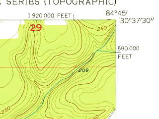 Reduced fragment of topographic map en--usgs--024k--044061--(1955)--N030-37-30_W084-52-30--N030-30-00_W084-45-00