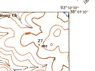 Reduced fragment of topographic map en--usgs--024k--044137--(1940)--N038-07-30_W094-00-00--N038-00-00_W093-52-30