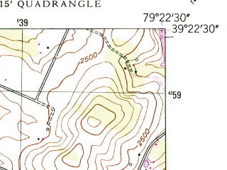 Reduced fragment of topographic map en--usgs--024k--044154--(1948)--N039-22-30_W079-30-00--N039-15-00_W079-22-30