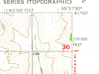 Reduced fragment of topographic map en--usgs--024k--044165--(1957)--N041-00-00_W095-45-00--N040-52-30_W095-37-30; towns and cities Tabor