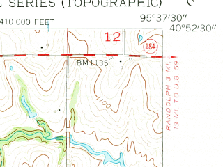 Reduced fragment of topographic map en--usgs--024k--044172--(1957)--N040-52-30_W095-45-00--N040-45-00_W095-37-30; towns and cities Thurman