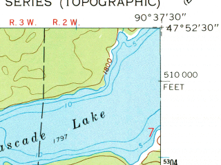 Reduced fragment of topographic map en--usgs--024k--044199--(1960)--N047-52-30_W090-45-00--N047-45-00_W090-37-30