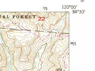 Reduced fragment of topographic map en--usgs--024k--044200--(1953)--N034-30-00_W120-07-30--N034-22-30_W120-00-00