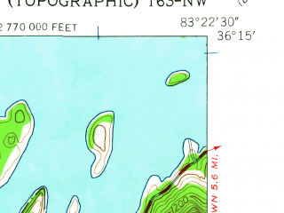 Reduced fragment of topographic map en--usgs--024k--044206--(1960)--N036-15-00_W083-30-00--N036-07-30_W083-22-30