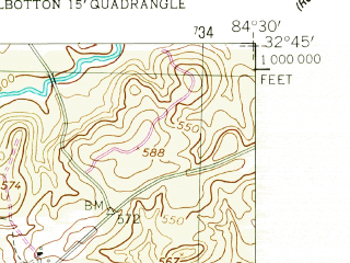 Reduced fragment of topographic map en--usgs--024k--044207--(1955)--N032-45-00_W084-37-30--N032-37-30_W084-30-00; towns and cities Talbotton