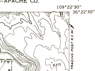 Reduced fragment of topographic map en--usgs--024k--044223--(1955)--N036-22-30_W109-30-00--N036-15-00_W109-22-30