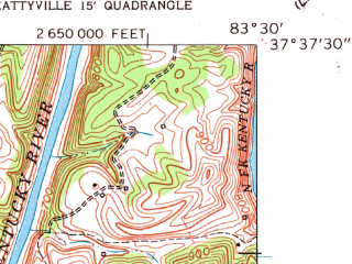 Reduced fragment of topographic map en--usgs--024k--044231--(1961)--N037-37-30_W083-37-30--N037-30-00_W083-30-00
