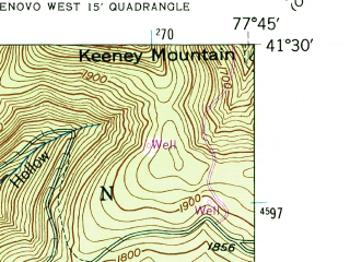 Reduced fragment of topographic map en--usgs--024k--044248--(1946)--N041-30-00_W077-52-30--N041-22-30_W077-45-00