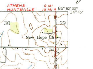 Reduced fragment of topographic map en--usgs--024k--044281--(1938)--N034-45-00_W087-00-00--N034-37-30_W086-52-30; towns and cities Mooresville