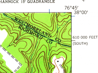 Reduced fragment of topographic map en--usgs--024k--044300--(1944)--N038-00-00_W076-52-30--N037-52-30_W076-45-00; towns and cities Tappahannock, Warsaw