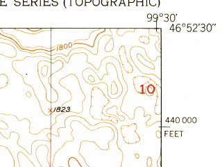 Reduced fragment of topographic map en--usgs--024k--044303--(1952)--N046-52-30_W099-37-30--N046-45-00_W099-30-00; towns and cities Tappen