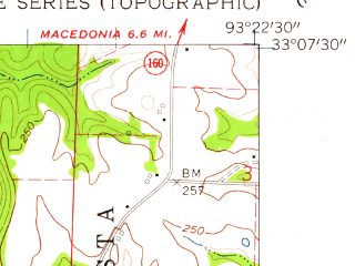 Reduced fragment of topographic map en--usgs--024k--044367--(1960)--N033-07-30_W093-30-00--N033-00-00_W093-22-30; towns and cities Springhill, Taylor