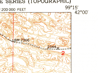Reduced fragment of topographic map en--usgs--024k--044384--(1952)--N042-00-00_W099-22-30--N041-52-30_W099-15-00