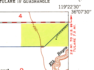 Reduced fragment of topographic map en--usgs--024k--044397--(1951)--N036-07-30_W119-30-00--N036-00-00_W119-22-30