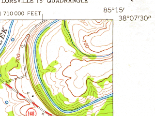Reduced fragment of topographic map en--usgs--024k--044405--(1954)--N038-07-30_W085-22-30--N038-00-00_W085-15-00; towns and cities Taylorsville