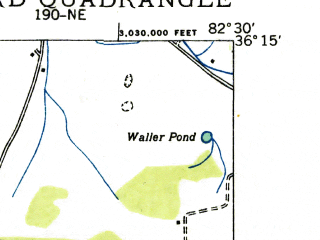 Reduced fragment of topographic map en--usgs--024k--044496--(1936)--N036-15-00_W082-37-30--N036-07-30_W082-30-00