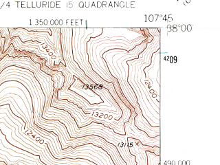 Reduced fragment of topographic map en--usgs--024k--044501--(1955)--N038-00-00_W107-52-30--N037-52-30_W107-45-00; towns and cities Telluride