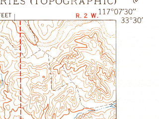 Reduced fragment of topographic map en--usgs--024k--044506--(1950)--N033-30-00_W117-15-00--N033-22-30_W117-07-30; towns and cities Rainbow