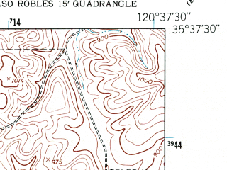 Reduced fragment of topographic map en--usgs--024k--044527--(1948)--N035-37-30_W120-45-00--N035-30-00_W120-37-30; towns and cities Templeton