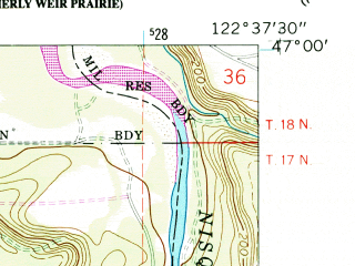 Reduced fragment of topographic map en--usgs--024k--044543--(1959)--N047-00-00_W122-45-00--N046-52-30_W122-37-30; towns and cities Rainier