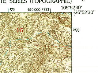 Reduced fragment of topographic map en--usgs--024k--044628--(1953)--N035-52-30_W106-00-00--N035-45-00_W105-52-30; towns and cities Tesuque